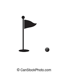 Golf vector silhouette icon symbols. Golf flagstick and field.