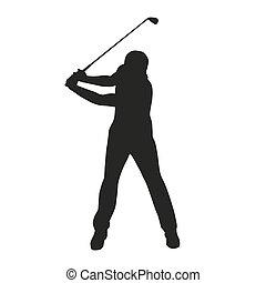 golf, vektor, silhuet, isoleret, swing.