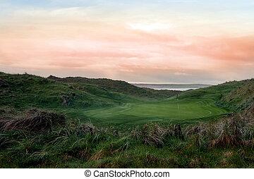golf- verbindungen, üppig, ballybunion, kurs, grün
