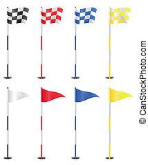golf, vettore, bandiere, illustrazione