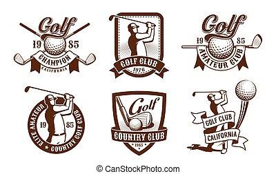 Golf vintage emblem set