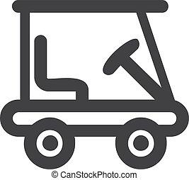 golf, voiture, illustration, arrière-plan., vecteur, noir, blanc, icône