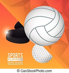 golf, volley-ball, sports, affiche