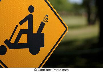 golf, voorzichtigheid, kar, meldingsbord