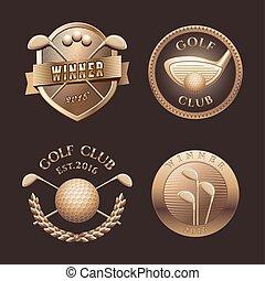 golf, wektor, komplet, logo
