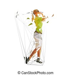 Golf woman, isolated low polygonal vector illustration. Geometric isolated colorful golfer
