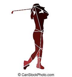 Golf woman. Red geometric lady golfer silhouette