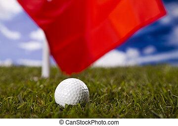 Golfball and flag, Golf