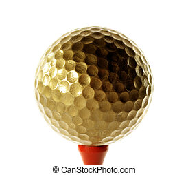 Golfball in gold for luxury play