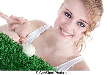 golfball, mulher