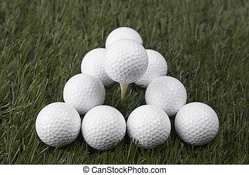 golfballen, op, gras