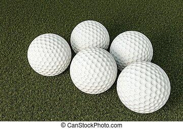 golfballen, op, groen gras