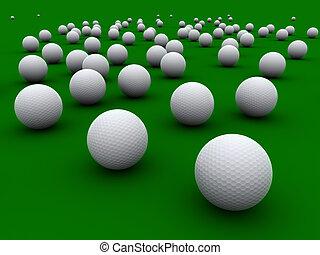 Golfballs - A lot  golfballs on a green grass