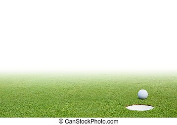 golfboll, grönt gräs