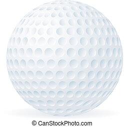 golfboll, isolerat, vita