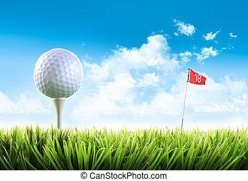 golfboll, med, utslagsplats, in, den, gräs