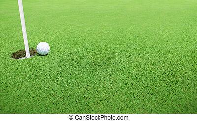golfboll, nära, den, hål
