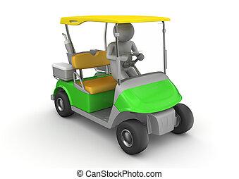 golfcar, bestuurder, -, sporten, verzameling