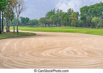 golfcourse, albero, corte, verde, bello, golf, paesaggio, erba, palma