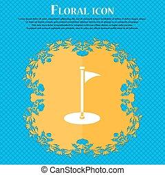 golfe, ícone, icon., floral, apartamento, desenho, ligado, um, azul, abstratos, fundo, com, lugar, para, seu, text., vetorial