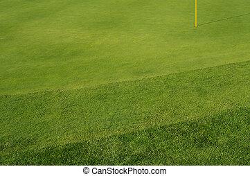 golfe, bunkers, e, verdes