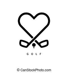 golfe, cor, ilustração, pretas, amor, ícone