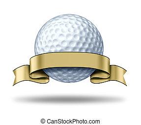 golfe, distinção, com, em branco, ouro, etiqueta