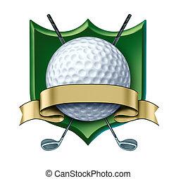 golfe, distinção, crista, com, em branco, ouro, etiqueta