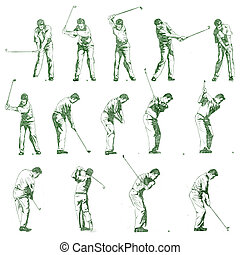 golfe, ilustração, mão, balanço, desenhado, fases