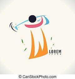 golfe, imagem, símbolo, experiência., vetorial, desenho, ícone, branca, abstratos, logotipo
