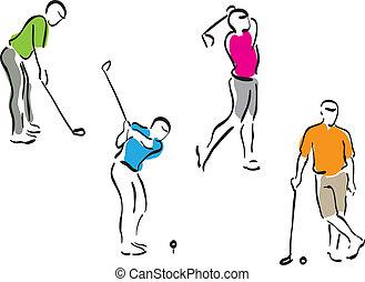 golfe, jogo, -, homens