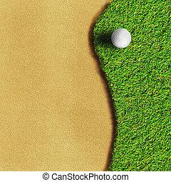 golfe, ligado, grama verde