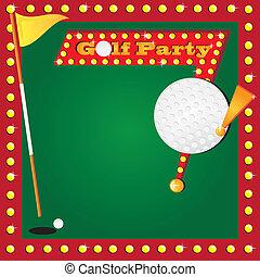 golfe miniatura, retro, convite