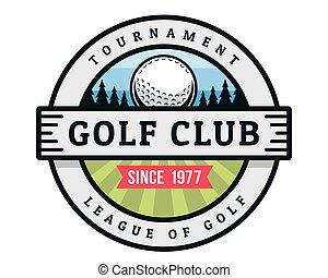 golfe, modernos, emblema, ilustração, logotipo
