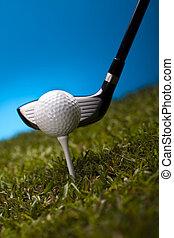 golfe, motorista, golfball