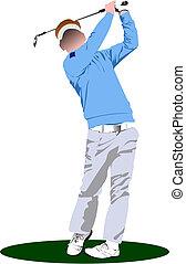 golfe, players., ilustração, vetorial