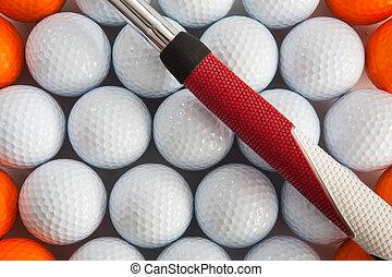 golfe, putter, e, bolas