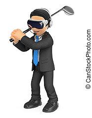golfe, realidade virtual, homem negócios, 3d, tocando, óculos