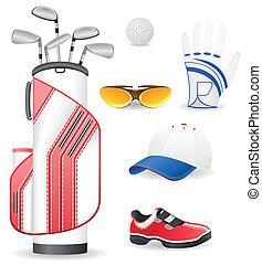 golfe, roupa, equipamento