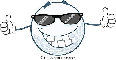 golfe, sorrindo, bola, óculos de sol