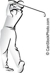golfe, tiro, ferro