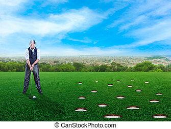 golfe, tocando, homem negócios