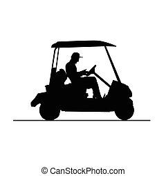golfe, veículo, vetorial, em, preto branco