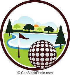 golfe, vetorial, desenho, modelo, logotipo, paisagem