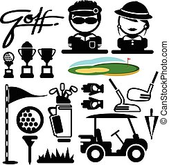golfe, vetorial, desporto, icons.