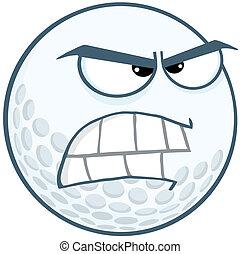 golfe, zangado, bola, personagem, caricatura