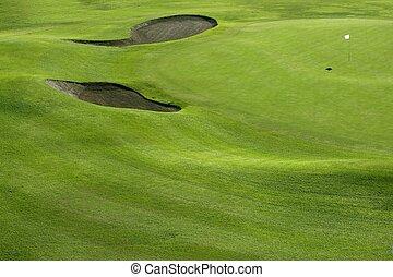 golfen, feld, löcher, kurs, grüner hügel, gras