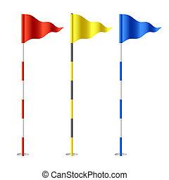 golfen, flaggen