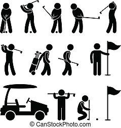 golfen, golfspieler, halter, schwingen, leute