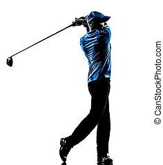 golfen, golfspieler, mann, golf, schwingen, silhouette